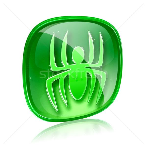 Virus icon green glass, isolated on white background. Stock photo © zeffss