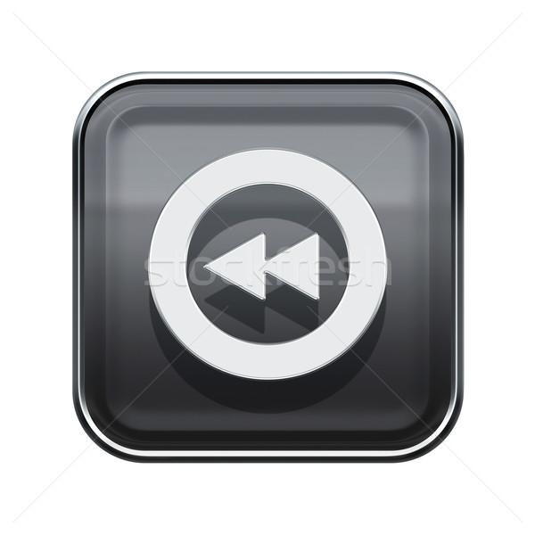 Rewind icon glossy grey, isolated on white Stock photo © zeffss