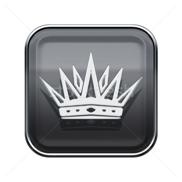 Crown icon glossy grey, isolated on white background Stock photo © zeffss