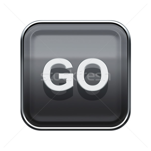 Go icon glossy grey, isolated on white background Stock photo © zeffss
