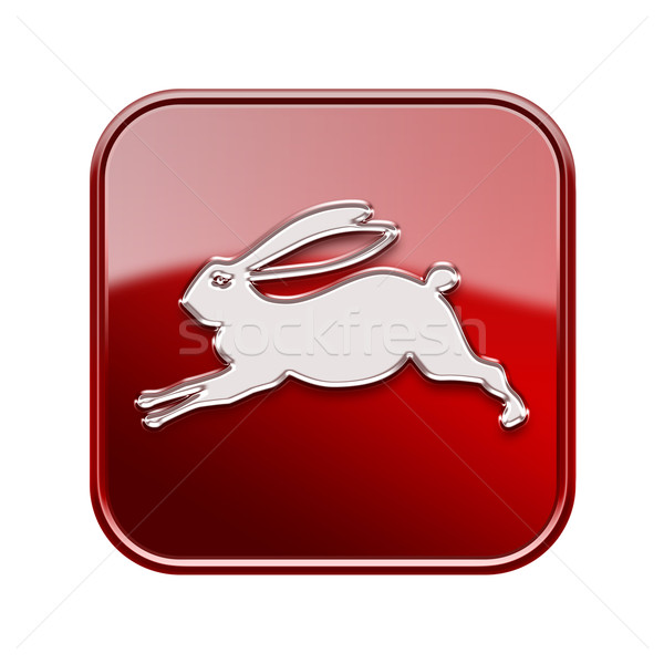 Rabbit Zodiac icon red, isolated on white background. Stock photo © zeffss