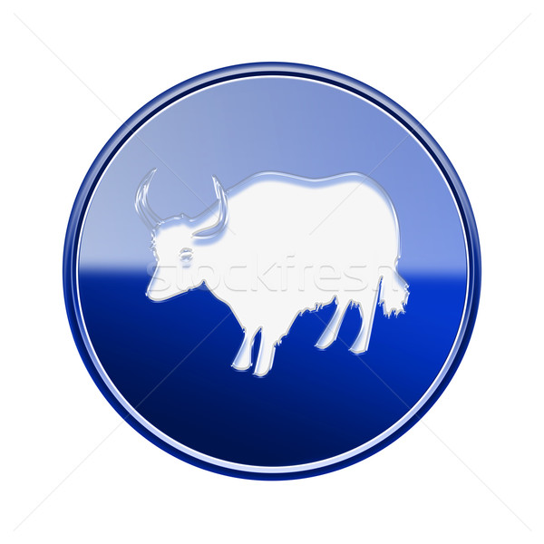 Ox Zodiac icon blue, isolated on white background. Stock photo © zeffss