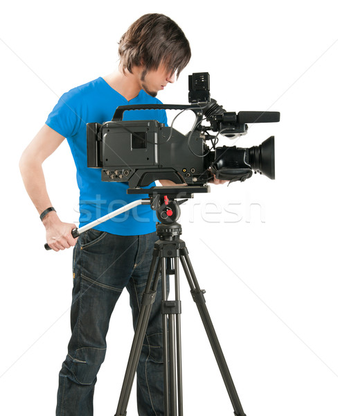 Professional cameraman on white background Stock photo © zeffss