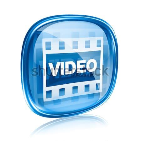 Foto stock: Filme · ícone · azul · vidro · isolado · branco