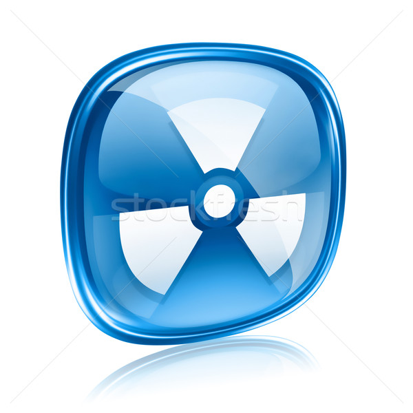 Radioactive icon blue glass, isolated on white background. Stock photo © zeffss
