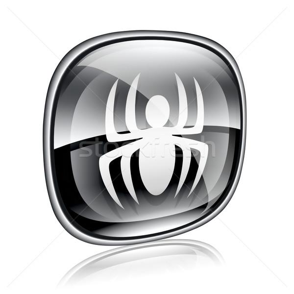Virus icon black glass, isolated on white background. Stock photo © zeffss