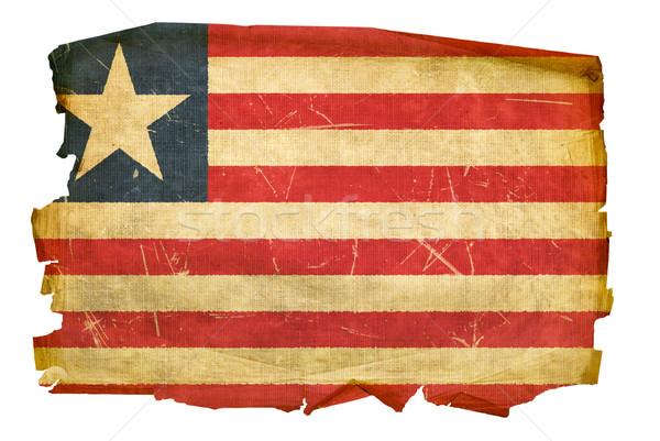 Liberian Flag old, isolated on white background Stock photo © zeffss