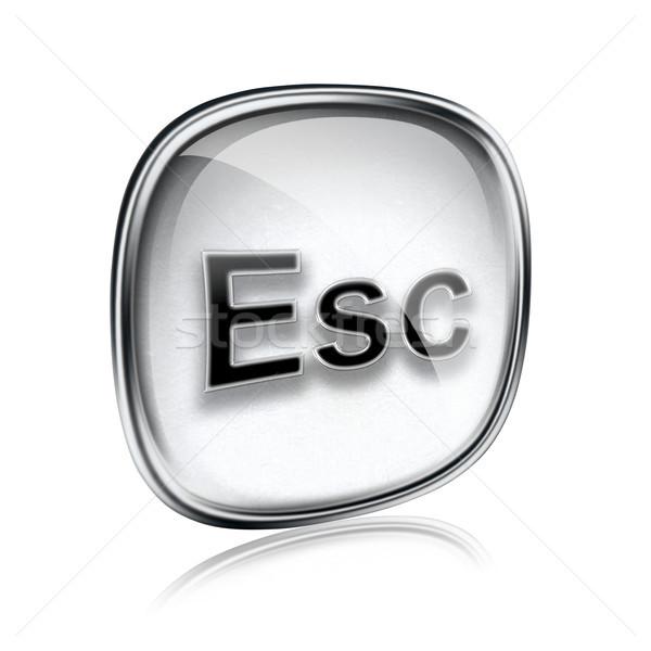 Esc icon grey glass, isolated on white background Stock photo © zeffss