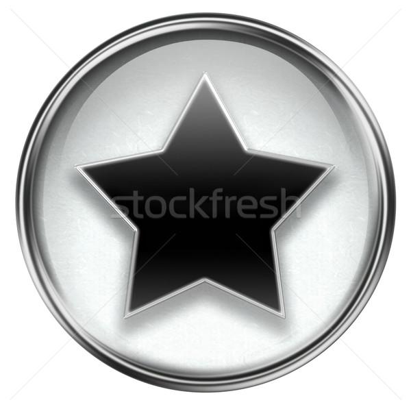 Star icon grijs geïsoleerd witte metaal Stockfoto © zeffss