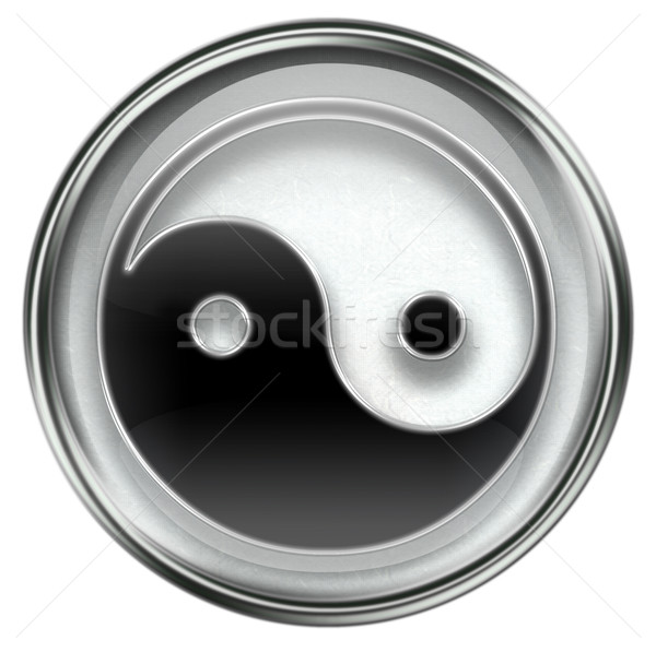Stock photo: yin yang symbol icon grey