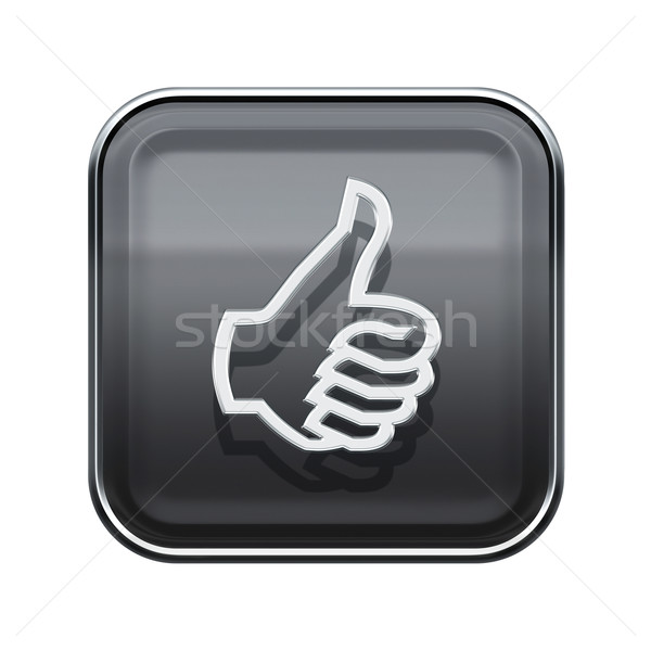 thumb up icon glossy grey, isolated on white background Stock photo © zeffss