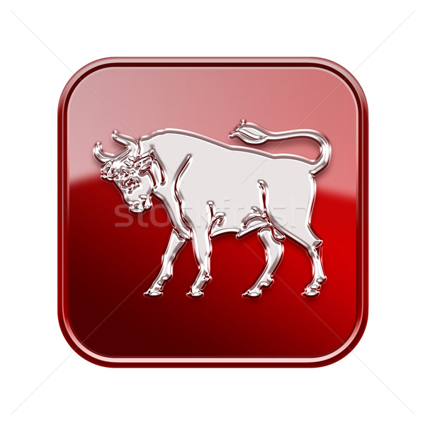 Taurus zodiac icon red, isolated on white background Stock photo © zeffss
