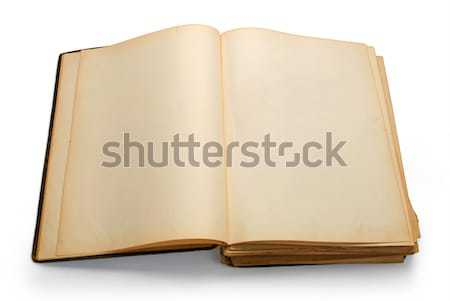 Abrir antigo livro isolado branco Foto stock © zeffss