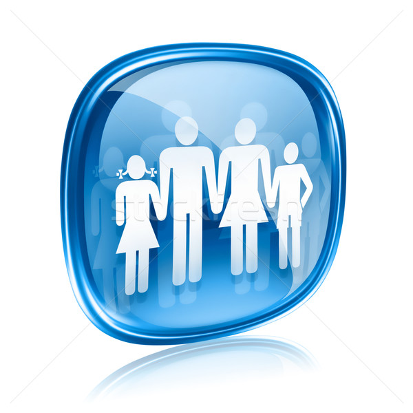 family icon blue glass, isolated on white background. Stock photo © zeffss