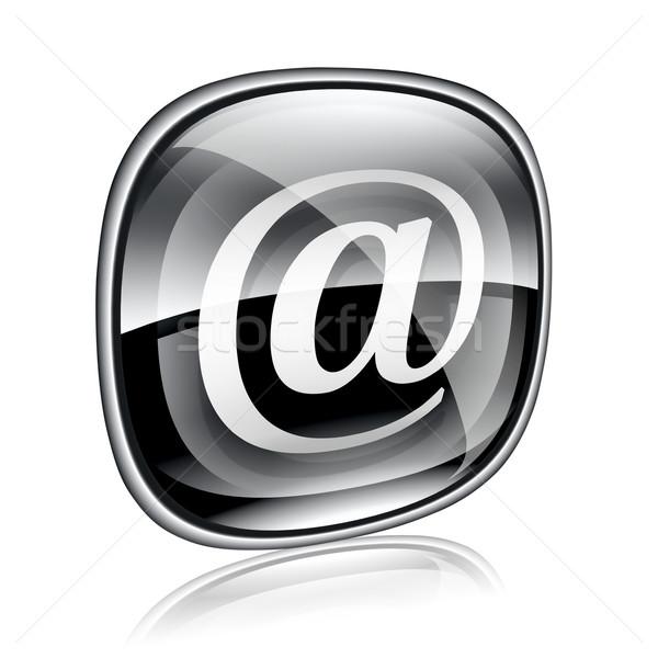E-mail ícone preto vidro isolado branco Foto stock © zeffss