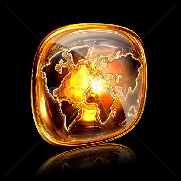 Globo ícone âmbar isolado preto mapa Foto stock © zeffss