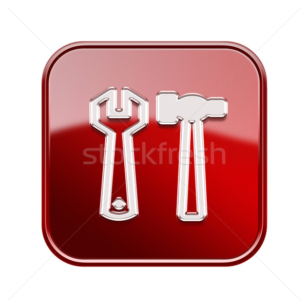 Tools icon glossy red, isolated on white background Stock photo © zeffss