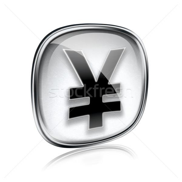 Yen icono gris vidrio aislado blanco Foto stock © zeffss