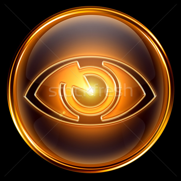 eye icon golden, isolated on black background. Stock photo © zeffss