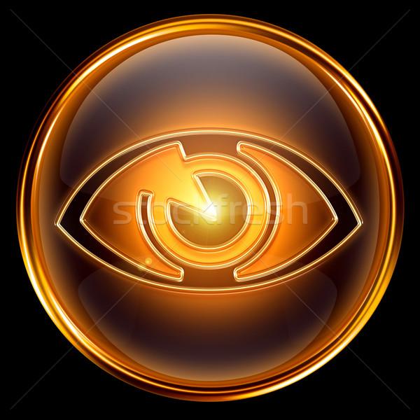 Oog icon gouden geïsoleerd zwarte glas Stockfoto © zeffss