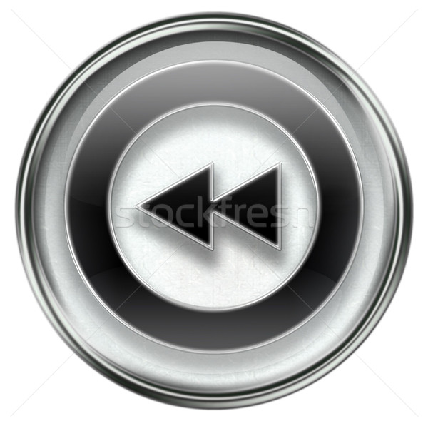 Stock photo: Rewind Back icon grey