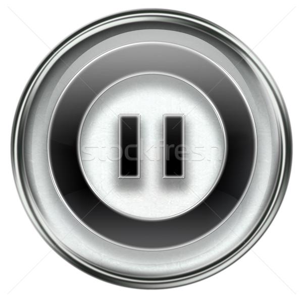 Pause icon grey Stock photo © zeffss