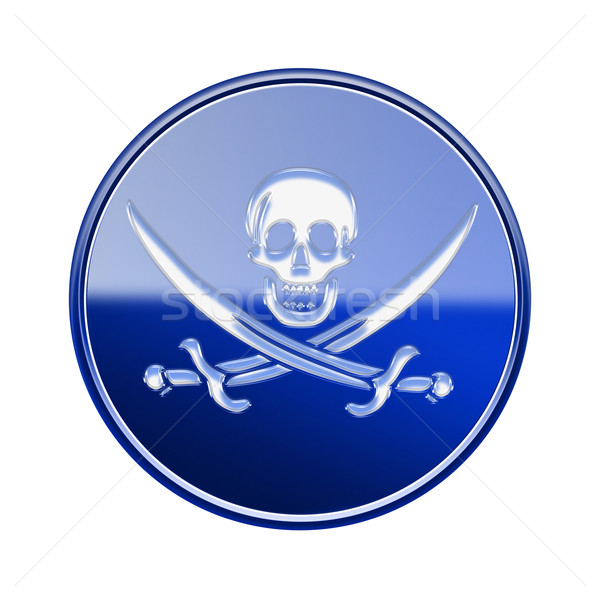 Pirate icon glossy blue, isolated on white backround Stock photo © zeffss