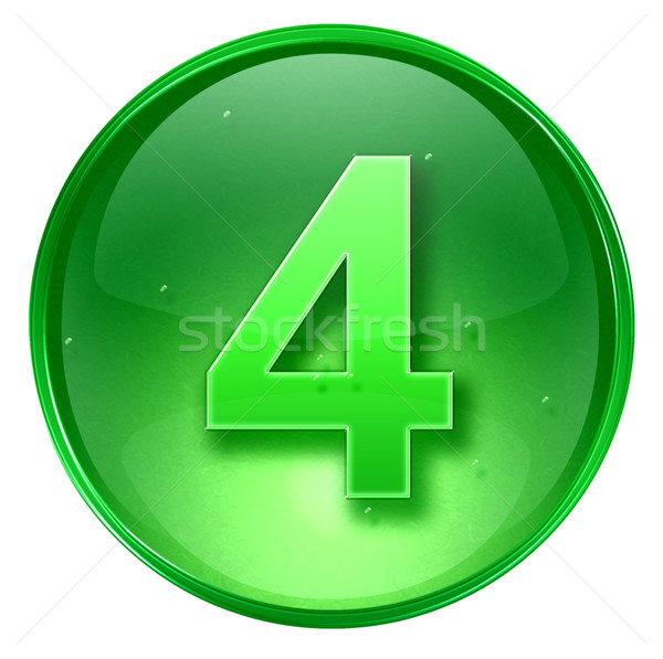 Сток-фото: числа · четыре · икона · зеленый · изолированный · белый