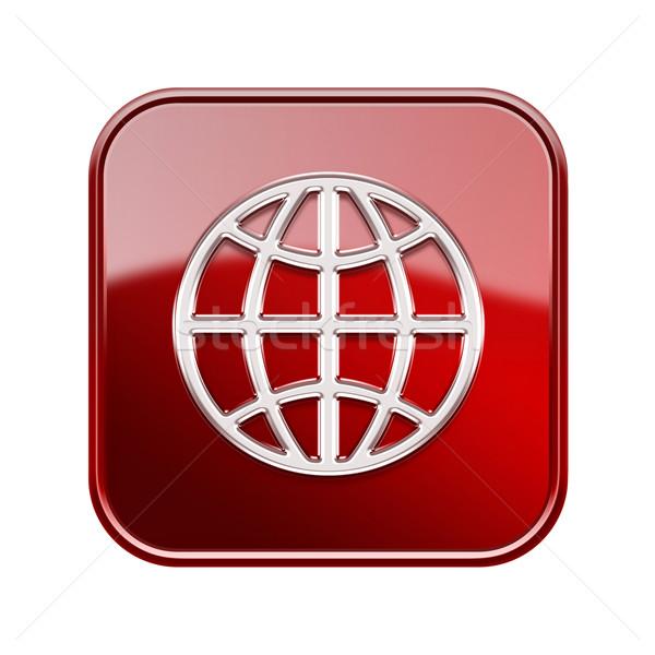 Stock fotó: Földgömb · ikon · piros · izolált · fehér · számítógép