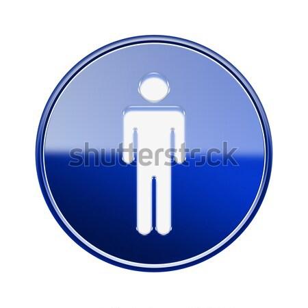 Stock fotó: Férfiak · ikon · fényes · kék · izolált · fehér