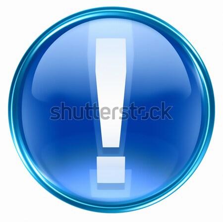 Stock fotó: Szimbólum · ikon · kék · üveg · izolált · fehér