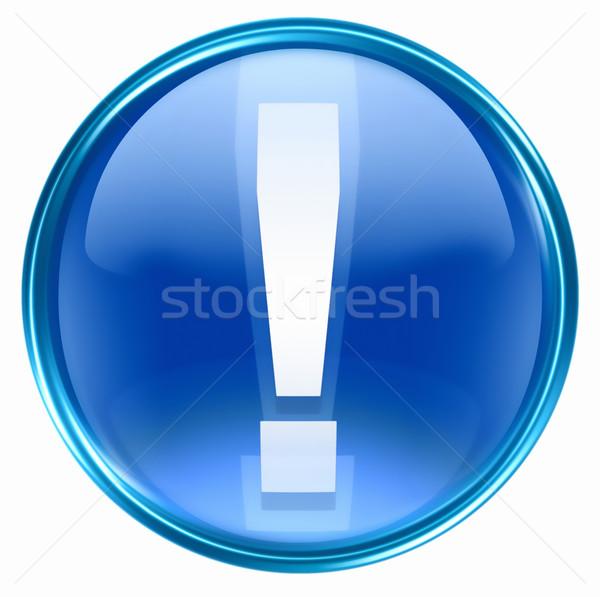 Exclamation symbol icon blue, isolated on white background Stock photo © zeffss