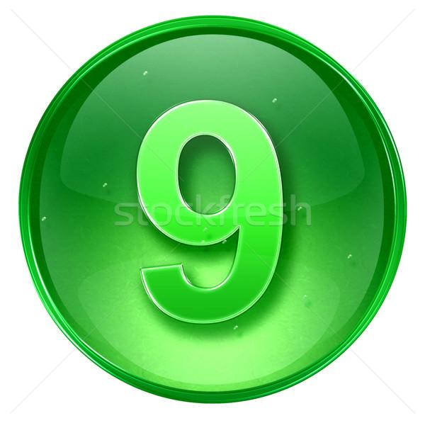 Número nove ícone verde isolado branco Foto stock © zeffss