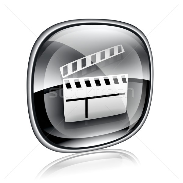 movie clapperboard icon black glass, isolated on white backgroun Stock photo © zeffss