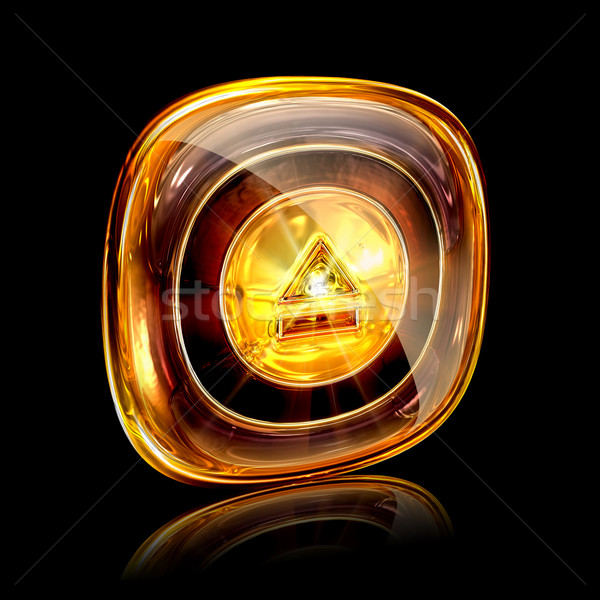 eject icon amber, isolated on black background Stock photo © zeffss