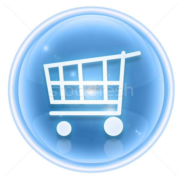 Bevásárlókocsi ikon jég izolált fehér terv Stock fotó © zeffss
