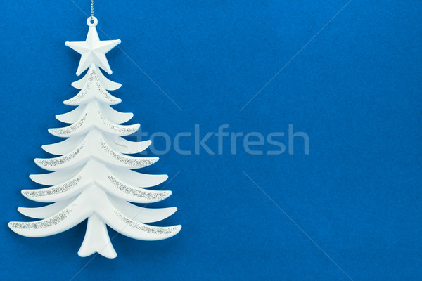 Christmas tree on a background of blue velvet paper Stock photo © zeffss