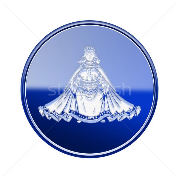 Stock photo: Virgo zodiac icon blue, isolated on white background