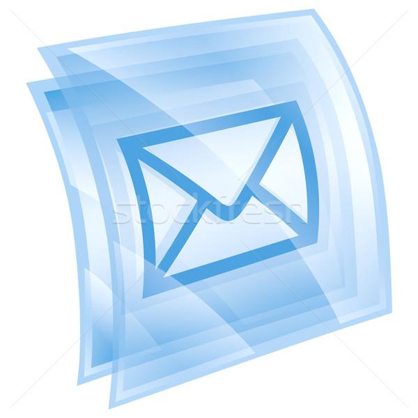 Сток-фото: конверт · икона · синий · изолированный · белый · интернет