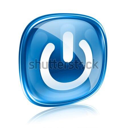 Stok fotoğraf: Güç · ikon · mavi · cam · yalıtılmış · beyaz