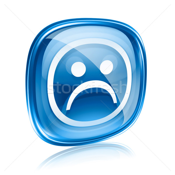 Smiley dissatisfied blue glass, isolated on white background. Stock photo © zeffss