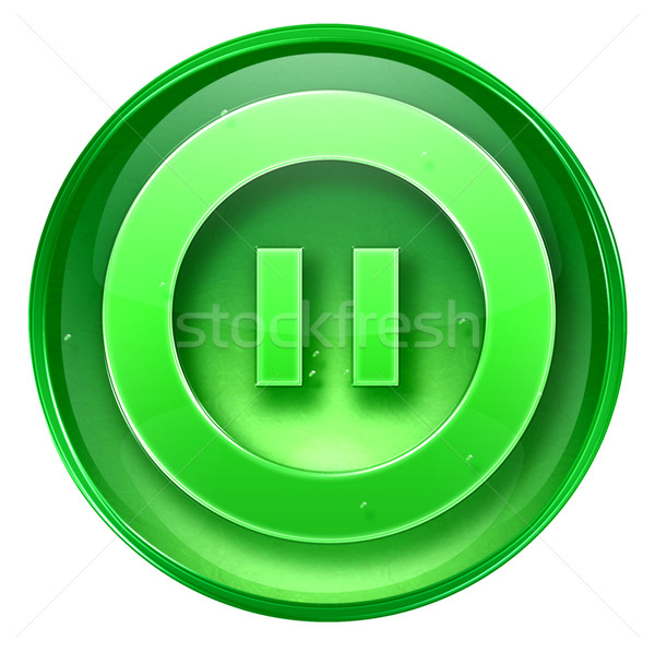 Pause icon green, isolated on white background.  Stock photo © zeffss