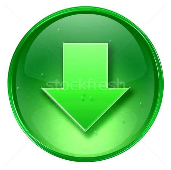 Ok aşağı ikon yeşil yalıtılmış beyaz Stok fotoğraf © zeffss