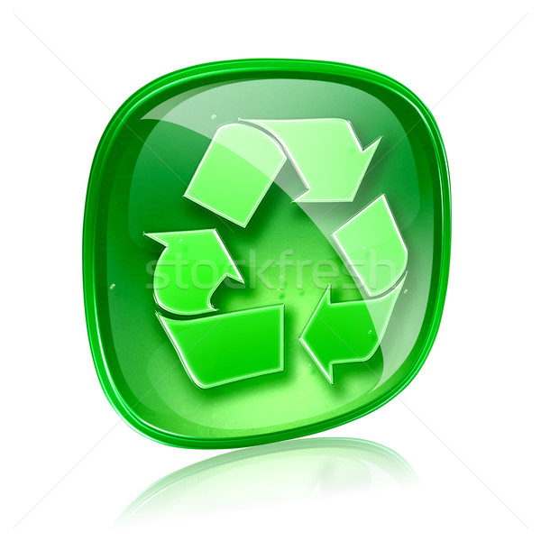 Recycling symbol icon green glass, isolated on white background. Stock photo © zeffss