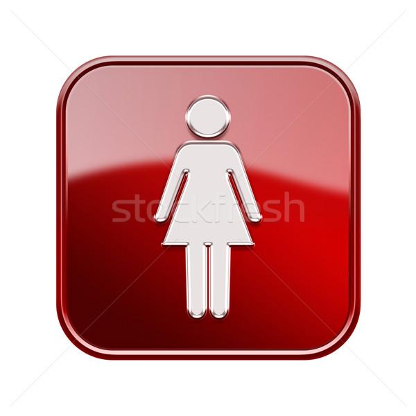 Stock fotó: Nő · ikon · piros · izolált · fehér · internet