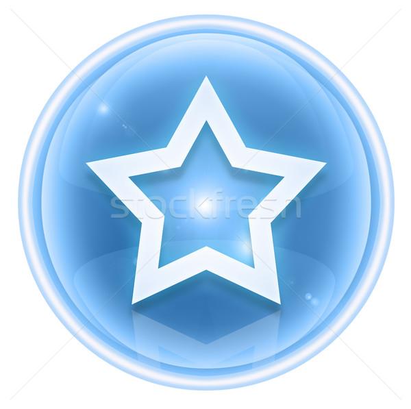 Stockfoto: Star · icon · ijs · geïsoleerd · witte · glas