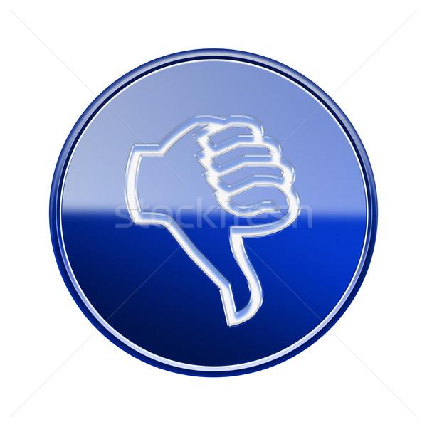 Hüvelykujj lefelé ikon fényes kék izolált Stock fotó © zeffss