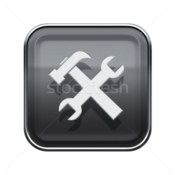 Tools icon glossy grey, isolated on white background. Stock photo © zeffss