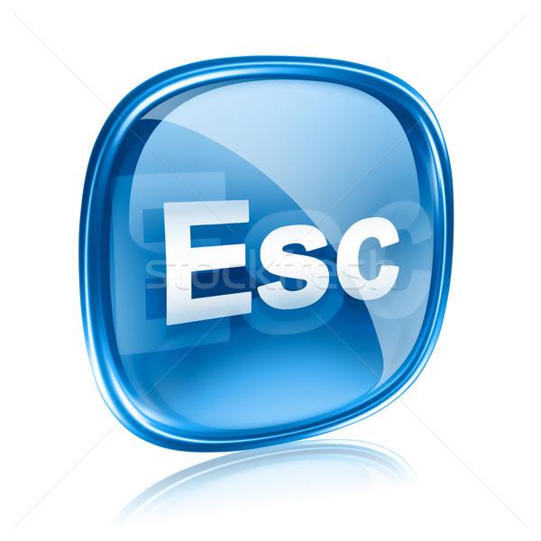 Esc icon blue glass, isolated on white background Stock photo © zeffss