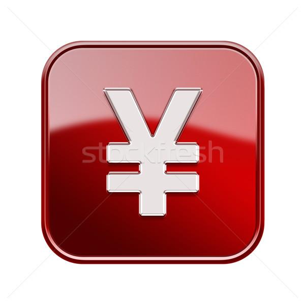 Yen icono rojo aislado blanco Foto stock © zeffss